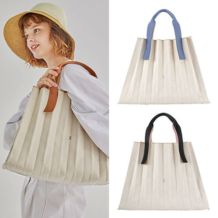 Casual Style Canvas A4 Plain Totes
