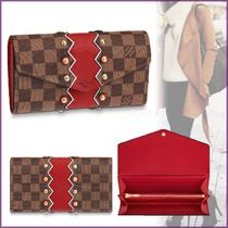 Louis Vuitton PORTEFEUILLE SARAH Other Check Patterns Canvas Blended Fabrics Studded Bi-color