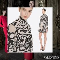 VALENTINO Short A-line Silk Long Sleeves Other Animal Patterns