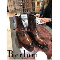 Berluti Straight Tip Mountain Boots Plain Leather Outdoor Boots