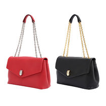 JOSEPH&STACEY 2WAY Chain Plain Leather Elegant Style Shoulder Bags