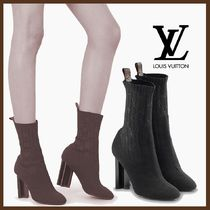 Louis Vuitton Monogram Plain Toe Elegant Style Chunky Heels