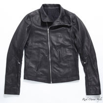 RICK OWENS Short Plain Leather Biker Jackets