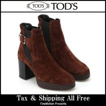 TOD'S Platform Round Toe Blended Fabrics Plain Leather Handmade