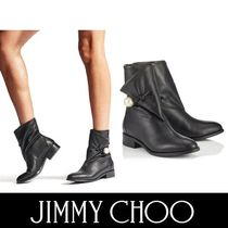 Jimmy Choo Round Toe Plain Leather Elegant Style Ankle & Booties Boots