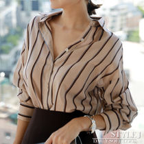 Stripes V-Neck Long Sleeves Cotton Medium Office Style