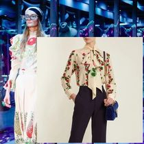 GUCCI Flower Patterns Silk Long Sleeves Elegant Style