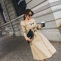 Plain Medium Midi Elegant Style Trench Coats