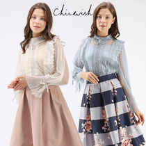 Chicwish Puffed Sleeves Plain Medium Lace Elegant Style