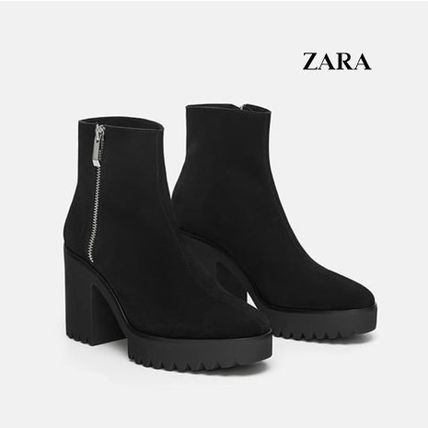 ZARA Ankle & Booties Platform Round Toe Casual Style Plain Leather