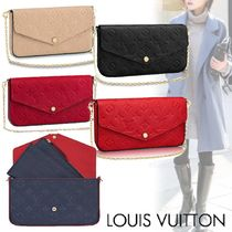 Louis Vuitton MONOGRAM EMPREINTE Monogram Blended Fabrics Bi-color Chain Leather Long Wallets