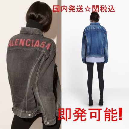 Casual Style Unisex Denim Street Style Bi-color Plain Medium