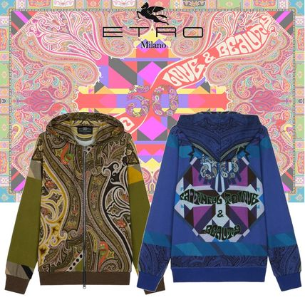 Paisley Long Sleeves Cotton Hoodies