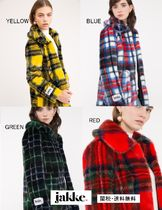 Short Other Check Patterns Faux Fur Coats
