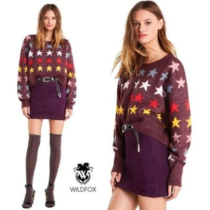 Crew Neck Star Casual Style Long Sleeves Medium Sweaters