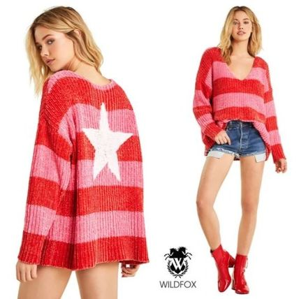 Stripes Star V-Neck Long Sleeves Medium Sweaters