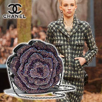 CHANEL Flower Patterns Blended Fabrics Vanity Bags 2WAY Plain