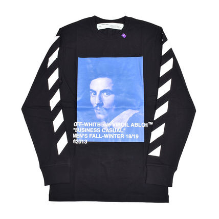 Off-White Long Sleeve Crew Neck Pullovers Street Style Long Sleeves Cotton