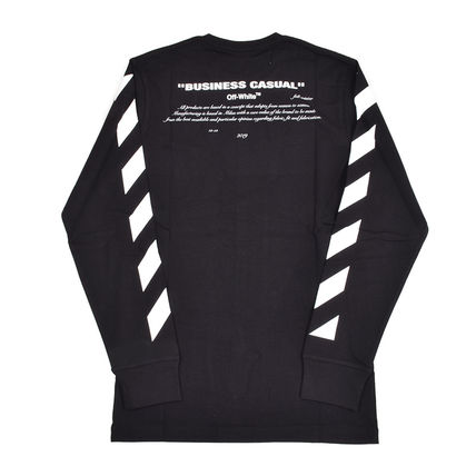 Off-White Long Sleeve Crew Neck Pullovers Street Style Long Sleeves Cotton 2