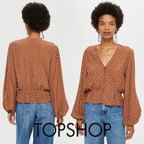 TOPSHOP Dots Casual Style Medium Puff Sleeves Shirts & Blouses