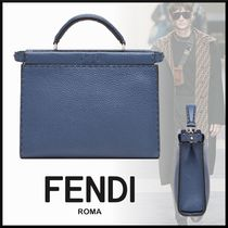 FENDI PEEKABOO FENDI MINI PEEKABOO FIT BLUE ROMAN LEATHER BAG