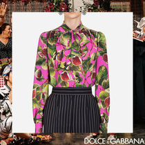 Dolce & Gabbana Tropical Patterns Silk Long Sleeves Medium Elegant Style