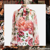 Dolce & Gabbana Flower Patterns Silk Long Sleeves Medium Elegant Style