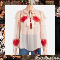 Dolce & Gabbana Heart Silk Long Sleeves Medium Elegant Style