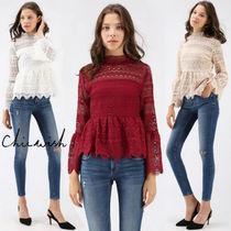 Chicwish Casual Style Peplum Long Sleeves Lace Shirts & Blouses
