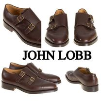 John Lobb WILLIAM Straight Tip Monk Plain Leather Loafers & Slip-ons