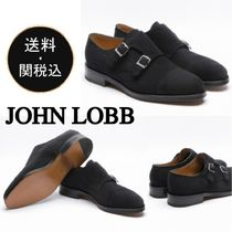 John Lobb WILLIAM Straight Tip Monk Suede Plain Loafers & Slip-ons
