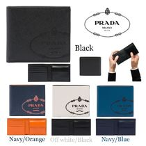 PRADA SAFFIANO LUX Bi-color Leather Folding Wallets