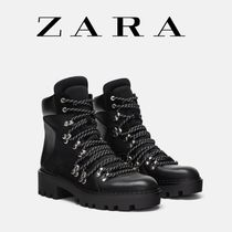 ZARA Mountain Boots Round Toe Casual Style Plain Block Heels