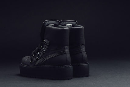 PUMA Ankle & Booties Casual Style Unisex Street Style Collaboration Plain Leather 5