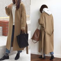 Casual Style Wool Street Style Plain Long Handmade Oversized