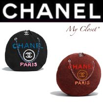 CHANEL DEAUVILLE Monogram Fur Blended Fabrics Street Style A4 Chain