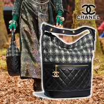 CHANEL Other Check Patterns Calfskin Blended Fabrics Street Style
