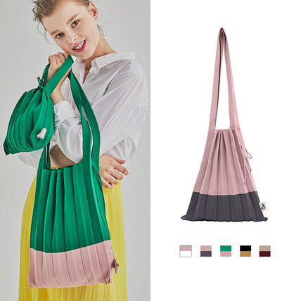 Casual Style A4 Bi-color Totes
