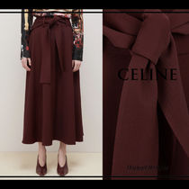 CELINE Flared Skirts Wool Plain Long Elegant Style Bold Maxi Skirts