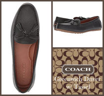 Coach Plain Toe Rubber Sole Tassel Plain Leather Office Style