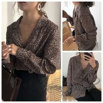 Leopard Patterns Long Sleeves Elegant Style Shirts & Blouses