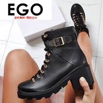 EGO Lace-up Casual Style Faux Fur Plain Block Heels