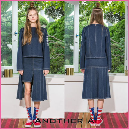 Casual Style Denim Street Style Plain Co-ord Skirts