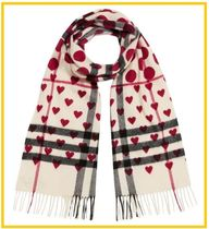 Burberry Other Check Patterns Heart Casual Style Cashmere