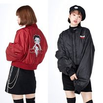 NASTYKICK Short Street Style Collaboration Plain MA-1 Bomber Jackets
