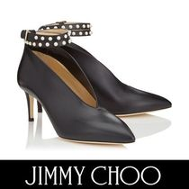 Jimmy Choo Plain Leather Pin Heels Elegant Style Ankle & Booties Boots