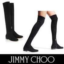 Jimmy Choo Round Toe Suede Plain Elegant Style Over-the-Knee Boots