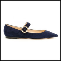 Jimmy Choo Suede Blended Fabrics Plain With Jewels Elegant Style