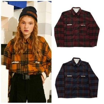 Other Check Patterns Casual Style Unisex Wool Street Style