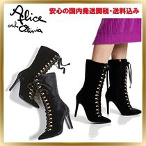 Alice+Olivia Lace-up Plain Pin Heels Elegant Style Lace-up Boots